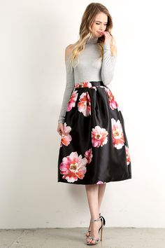 Blossom - Floral Print High Waisted A-Line Skirt