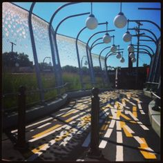 Shady Liberty, pedestrian bridge linking Shadyside and East Liberty. Designed by Sheila Klein Pittsburgh Bridges, Bridge Design, Pedestrian Bridge, Public Art, Wind Turbine, Paths, Liberty, Architecture Design, Trail