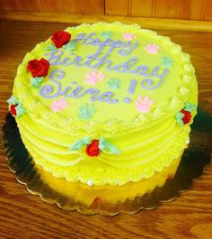 "8"" double layer lemon cake, yellow buttercream frosting, and strawberry filling - Sweet! 702 10th Ave., Belmar, NJ  07719 (732)280-8889."