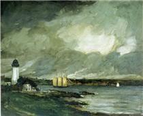 1) Robert Henri 2) Pequot Light House, Connecticut Coast 3) 1902 4) American Realism