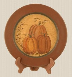Primitive Wooden Fall Harvest Pumpkins And Vine Plate (: