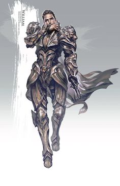 """Hyojin Ahn for Guild Wars 2 - """"Golden Armor: costume and character concept art"""""""