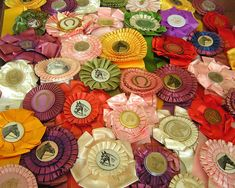 i have lots of old ribbons like this from my showing days - time to come up with something artsy to do with them...