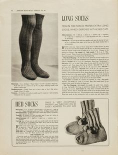 'Long socks and bed socks'  Pattern for long socks and bed socks  From Essentials for the Forces  Jaeger Handknit  1940s