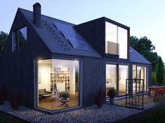 Ideas for house design exterior scandinavian Scandinavian Architecture, Scandinavian Home, Architecture Design, Black House Exterior, Modern Exterior, Exterior Doors, Exterior Design Of House, Wall Exterior, House Exteriors