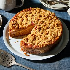 Rhubarb Coffee Cake With Cardamom-Ginger Crumble Recipe on Just Desserts, Dessert Recipes, Fruit Recipes, Brunch Recipes, Sweet Recipes, Delicious Desserts, Ginger Coffee, Rhubarb Coffee Cakes, Pistachio Cake