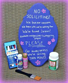 No soliciting sign for front door/garden! Funny