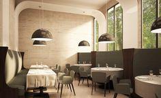 #Restaurante #contemporaneo #contract via @planreforma #sillas #mesas de comedor #iluminacion #render-maqueta