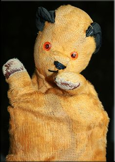 My 1960's mohair (threadbare!) Sooty hand puppet.