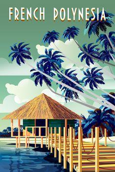 Landscape Walls, Beach Landscape, Tahiti, Tree Wall Murals, Wall Art, National Park Posters, Ville France, Tropical Art, Cook Islands
