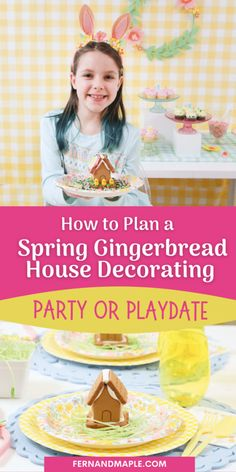 How to plan a fun Spring/Easter Gingerbread House Decorating Party or Playdate - with ideas for DIY backdrop, dessert table setup, place settings and more! Get details now at fernandmaple.com!