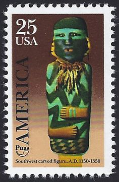 United States Scott Oct Puas Pre-Columbian America issue: Southwest carved figure, A. Puas: Postal Union of the Americas and Spain (España). The theme in 1989 for UPAE (Paus) member nations: Pre-Columbian people, customs and habits. Christopher Columbus, Stamps, Spain, United States, Carving, America, People, Fictional Characters, Art