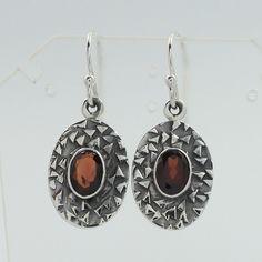 Natural GARNET Gemstones Handcrafted Earrings 925 Solid Sterling Silver Jewelery #SunriseJewellers #DropDangle