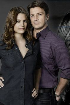 Television series Castle, starring Katic as Kate Beckett and Nathan Fillion as Rick Castle. <3