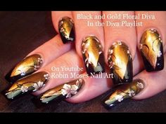 Nail Art | Gold and Black Flower Diva Nails | Fall Nail Design Tutorial - YouTube