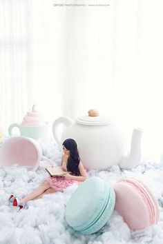 huge oversized macaroons and teapot for a fun pastel tea party, alice in wonderland celebration or stage background party decorations Foto Fantasy, Photo Zone, Wedding Photography And Videography, Pretty Pastel, Pastel Colors, Pastels, Decoration, Photo Booth, Backdrops