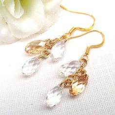 Swarovski Crystal Bridal Earrings Golden by Alwaysabridesmade, $45.00