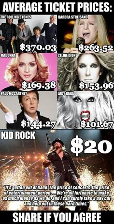 I don't like Kid Rock's music but I can respect this Kinds Of Music, My Music, Political Articles, Barbra Streisand, Kid Rock, Celine Dion, American Pride, Lol, Bad News