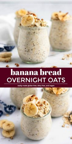 like banana bread straight from the oven, but with barely any effort, these Banana Bread Overnight Oats are breakfast you can wake up to--literally, because they are waiting for you in the morning! Low Calorie Overnight Oats, Overnight Oats With Yogurt, Banana Overnight Oats, Weight Loss Meals, Oatmeal Recipes, Clean Eating Snacks, Eating Healthy, Clean Eating Breakfast, Breakfast Healthy