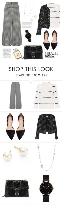 """Untitled #24"" by nicyk ❤ liked on Polyvore featuring A.W.A.K.E., L.K.Bennett, Chanel, Majorica, Gucci and CLUSE"