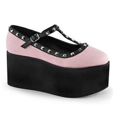 Click-07 Schoen met T-bandje met studs en plateau roze/zwart - Gothic Glamrock…