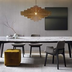 A collection of our favourite dining rooms. Including jaw-dropping chandeliers, wall sconces, dining table lamps and contemporary dining room furnishings. Dining Room Design, Dining Room Table, Dining Chairs, Dining Room Light Fixtures, Dining Room Lighting, Rooms Ideas, Rooms Home Decor, Room Lights, Contemporary Decor