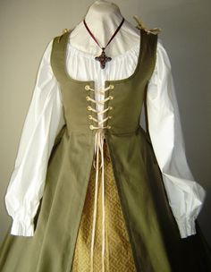medieval overdress | Renaissance Irish Overdress Gown in Twil and Chemise - GIRLS SIZES