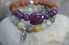 Lepidolite bracelet, stacking bracelets, amazonite, sandalwood and angel wing, stack of two, calming bracelets, yoga gift, mala, gemstone by nuttygals on Etsy