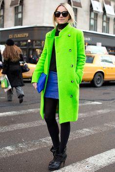 New York Fashion Week. Blair Eadie. Brights in street style.