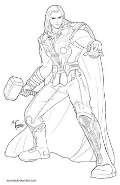 The Thor coloring pages called Thor to coloring. If you are a good fan of Thor, the Marvel superhero, you will really enjoy coloring this drawing of the god of thunder. Everything need you to give it color Captain America Coloring Pages, Avengers Coloring Pages, Shark Coloring Pages, Superhero Coloring Pages, Marvel Coloring, Disney Coloring Pages, Coloring Book Pages, Printable Coloring Pages, He Man Tattoo