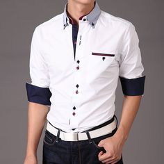 Dress-shirt-Men-Sleeve-Long-Cool-Model-New-Cheap