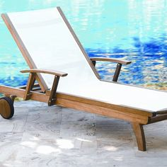 All Modern Three Birds Casual Teak Riviera Lounger in White