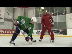 Learn how to take a faceoff in Hockey. Washington Capitals Assistant Coach Dean Evason and Capitals players Dave Steckel and Boyd Gordon show you different w. Hockey Workouts, Hockey Drills, Hockey Memes, Ice Hockey Rink, Ice Rink, Hockey Bedroom, Team Success, Hockey Training, What Team
