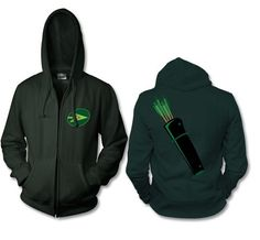 Green Arrow zip up hoodie with the Green Arrow logo on the front and a quiver on… Green Arrow Logo, Arrow T Shirt, Superhero Room, Supergirl And Flash, Best Wear, Geek Chic, Full Zip Hoodie, Alex Ross, Superman