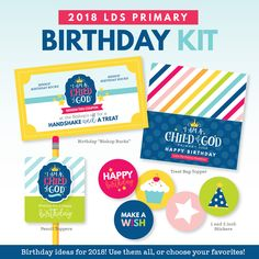 Save even more by purchasing this Primary birthday kit in our 2018 LDS Primary Theme Bundle: I am a Child of God. This 2018 Primary Theme Birthday Kit contains easy-to-print items to help you celebrate the birthdays in Primary. We have included a variety of Primary gift ideas at a reduced price so you can pick and choose your favorites from the kit! Select the Primary birthday printables from the kit that best fit your ward/branch and your needs! This pack includes the following: 1. Bi...