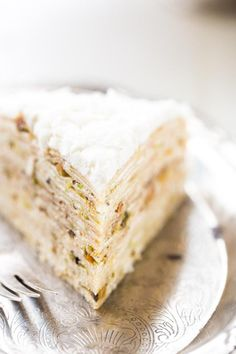 Coconut Pistachio Crepe Cake - A showstopping dessert that is surprisingly EASY! Perfect to impress at your Christmas table! @FoodFaithFit