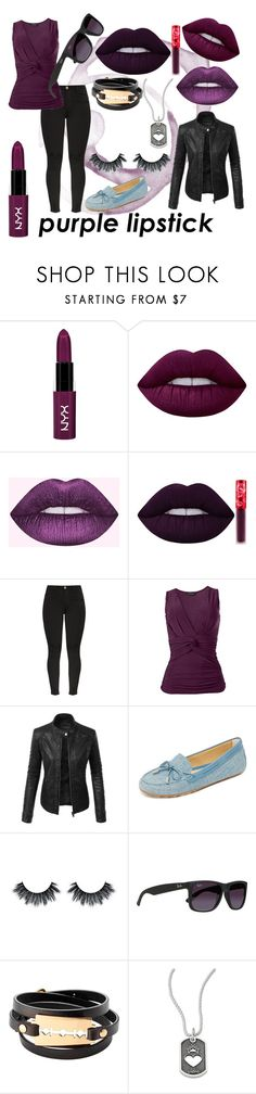 """""""Purple Lipstick"""" by cupcakecutie23 ❤ liked on Polyvore featuring beauty, NYX, Lime Crime, LE3NO, MICHAEL Michael Kors, Ray-Ban, McQ by Alexander McQueen and King Baby Studio"""
