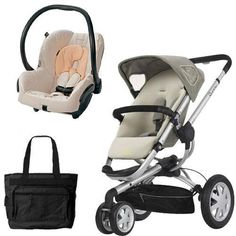 Quinny BUZ3BFYTRV2 Buzz 3 Travel System in Natural Mavis with Diaper Bag