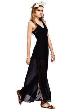 Shop ROMWE Split Sides Sheer Sleeveless Black Dress at ROMWE, discover more fashion styles online. Dress Outfits, Cheap Outfits, Dress Skirt, Chiffon Dress, Latest Street Fashion, Boho Look, Romwe, Flower Headbands, Black Clutch