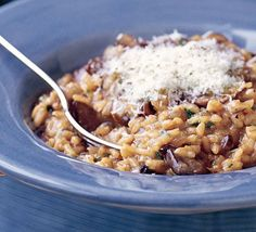 This mushroom risotto recipe is easy and delicious, perfect for a quick lunch or dinner. Find more recipe inspiration at BBC Good Food. Bbc Good Food Recipes, Vegetarian Recipes, Dinner Recipes, Cooking Recipes, Yummy Food, Easy Recipes, Dinner Ideas, Vegetarian Italian, Yummy Yummy