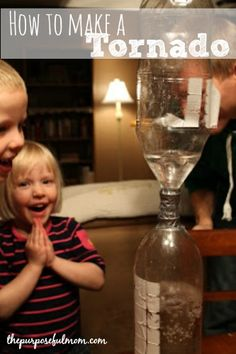 "Stuck in the house on a rainy day? Making this fun ""tornado"" is basically free and makes a good little science lesson! I did this with my children almost three years ago but they've had fun doing it several times since! What You Need: 2 two-liter pop bottles Duct tape Water Glitter (optional) What to …"