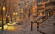 One of the most popular artists in Canada, Richard Savoie, draws pictures that are literally full of feelings of winter. Winter Landscape, Urban Landscape, Most Popular Artists, Winter Painting, Winter Scenery, Canadian Artists, Beautiful Paintings, Art And Architecture, Pretty Pictures