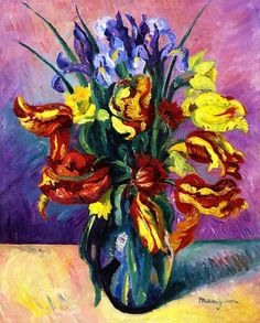 Parrot Tulips,1916,by Henri Manguin