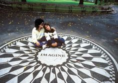 Yoko Ono and Sean Lennon in Central Park's Strawberry Fields