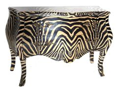 Zebra Louis XIV Chest, zebra fabric lacquered over sleek shiny finish.