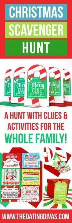 Clues and activities for a Christmas Scavenger Hunt the whole family can enjoy! Each stop on the scavenger hunt includes a Christmas-themed task or game! This would be so fun to do Christmas morning and the last stop be all the presents from Santa! Xmas Games, Holiday Games, Christmas Party Games, Christmas Activities, Christmas Traditions, Holiday Fun, Christmas Crafts, Holiday Ideas, Christmas Stuff