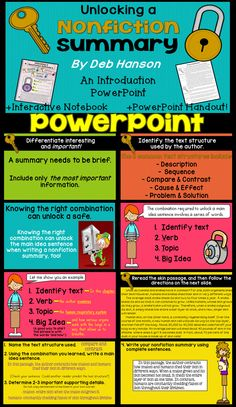 Summarizing Nonfiction PowerPoint- Teach your students to write a nonfiction summary. Step-by-step method!