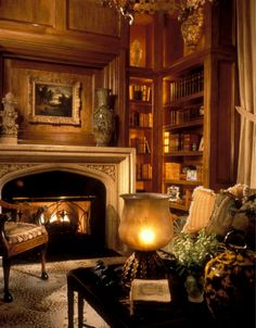Home Library. (Like this for our library too, just not sure how to incorporate that white marble fireplace )