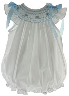 Baby Girls White Smocked Bubble Outfit with Blue Smocking - Infant girls white dressy summer bubble outfit smocked in blue with satin ribbon bows on the shoulders.