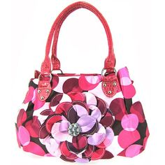 Cute Polkadot 3d Raised Flower Purse Hot Pink Polka Dot